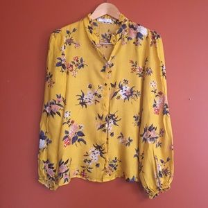 Floral button down ruffle collar blouse size S